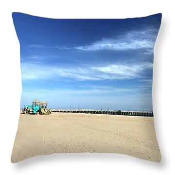 Coney Island Beach Throw Pillow