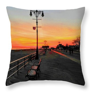 Coney Island Boardwalk Sunset Throw Pillow