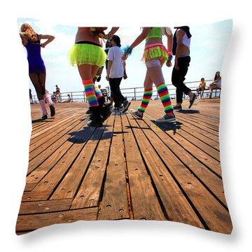 Coney Island Encounters Throw Pillow by Valentino Visentini
