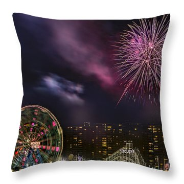 Coney Island Fireworks Throw Pillow