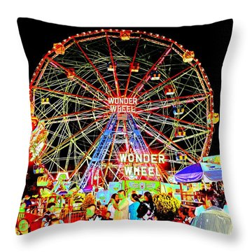 Coney Island Magic In Neon Throw Pillow