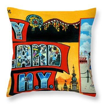 Coney Island New York Throw Pillow