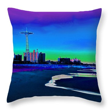 Coney Island Parachute Jump And Beach Throw Pillow