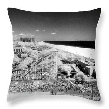 Coney Island View 7 Throw Pillow by Dave Beckerman