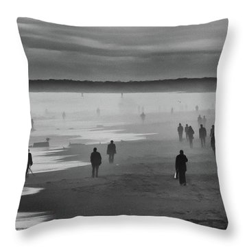 Coney Island Walkers Throw Pillow