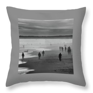 Throw Pillow featuring the photograph Coney Island Walkers by Eric Lake