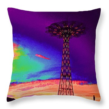 Coney Islands Parachute Jump Throw Pillow