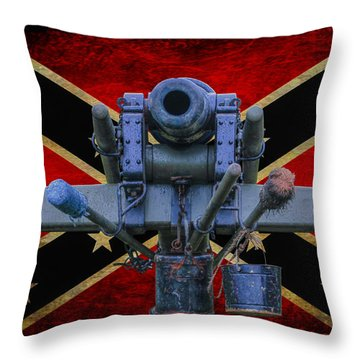 Confederate Flag And Cannon Throw Pillow