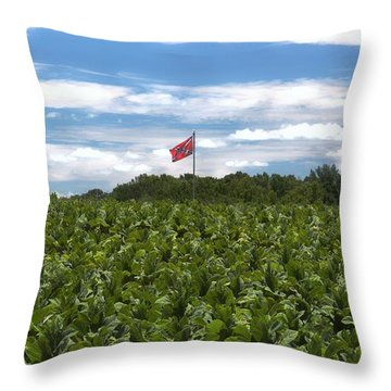 Confederate Flag In Tobacco Field Throw Pillow