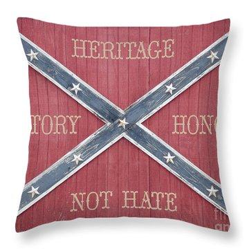 Confederate Flag On Wooden Door Throw Pillow