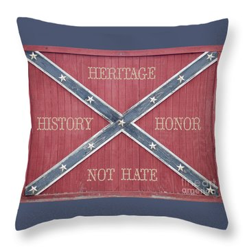Confederate Flag On Wooden Door Throw Pillow