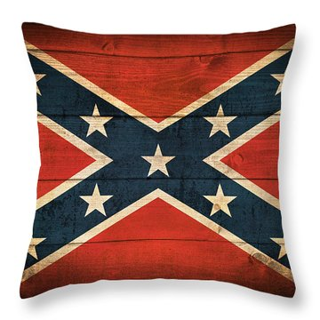 Confederate Flag Throw Pillow by Taylan Apukovska