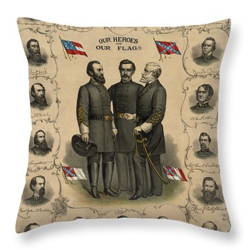 Confederate Generals Of The Civil War Throw Pillow