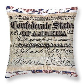 Confederate Money Throw Pillow