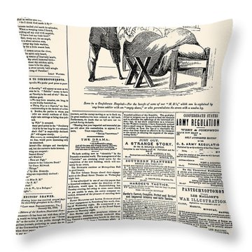 Confederate Newspaper Throw Pillow by Granger