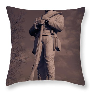 Confederate Statue  Standing Guard Throw Pillow