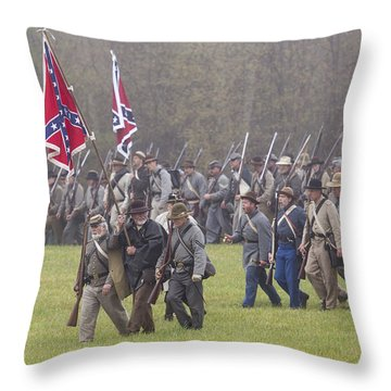 Confederate Troops Appomattox Throw Pillow by Alan Raasch