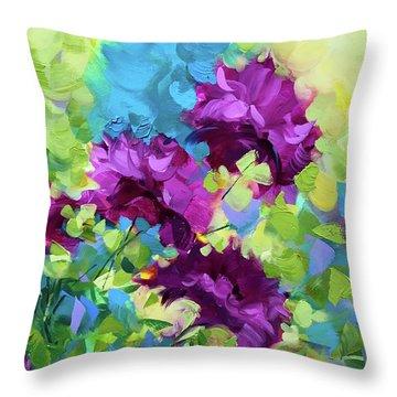 Confetti Blue Delphiniums Throw Pillow by Nancy Medina
