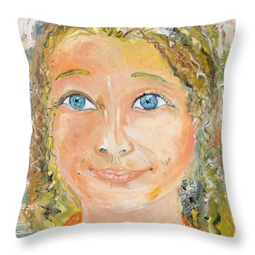 Throw Pillow featuring the painting Confident Smile by Evelina Popilian