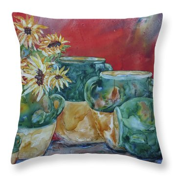 Confits And Sunflowers Throw Pillow