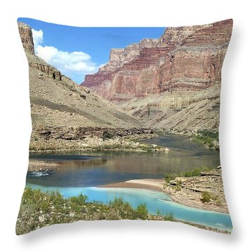 Confluence Of Colorado And Little Colorado Rivers Grand Canyon National Park Throw Pillow
