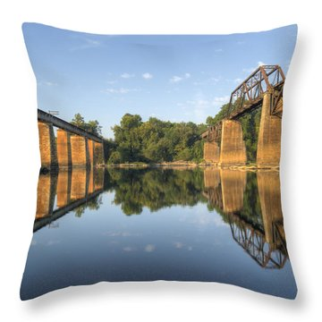 Congaree River Rr Trestles - 1 Throw Pillow