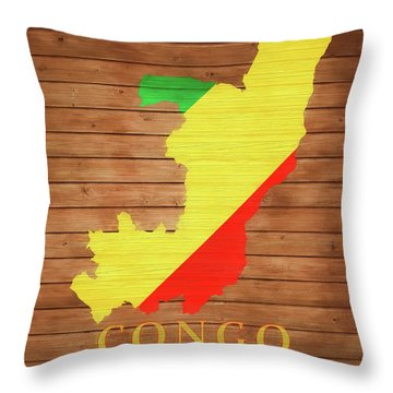 Congo Rustic Map On Wood Throw Pillow