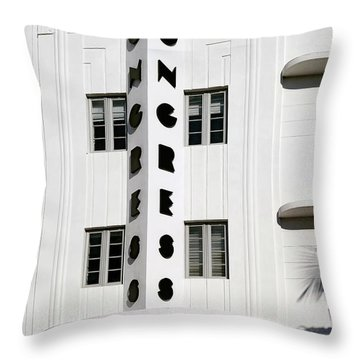 Congress Hotel. Miami. Fl. Usa Throw Pillow