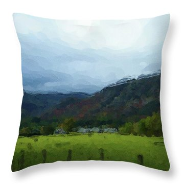 Coniston Watercolour Sketch Throw Pillow