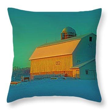 Conley Rd White Barn Throw Pillow
