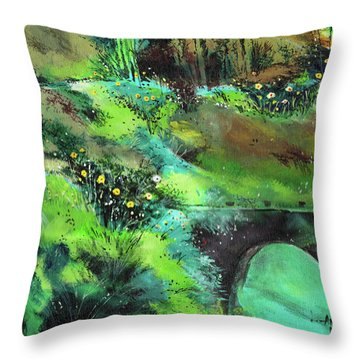Throw Pillow featuring the painting Connect by Anil Nene