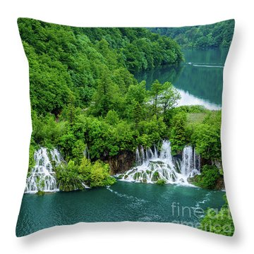 Connected By Waterfalls - Plitvice Lakes National Park, Croatia Throw Pillow