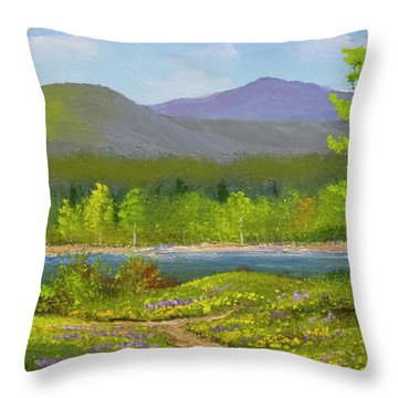 Throw Pillow featuring the painting Connecticut River Spring by Frank Wilson