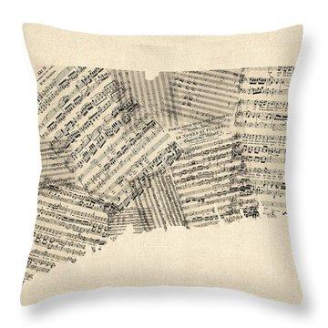 Connecticut Sheet Music Map Throw Pillow