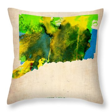 Connecticut Watercolor Map Throw Pillow by Naxart Studio