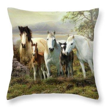 Connemara Ponies Throw Pillow