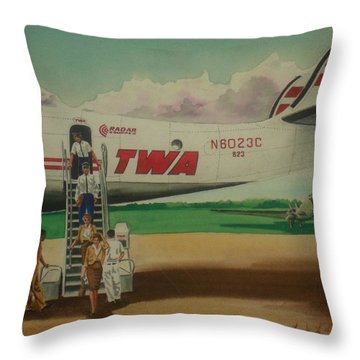 Connie Crew Deplaning At Columbus Throw Pillow by Frank Hunter