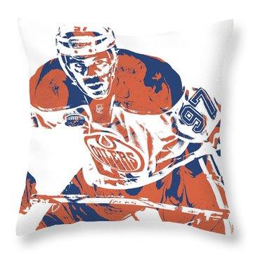 Connor Mcdavid Edmonton Oilers Pixel Art 1 Throw Pillow
