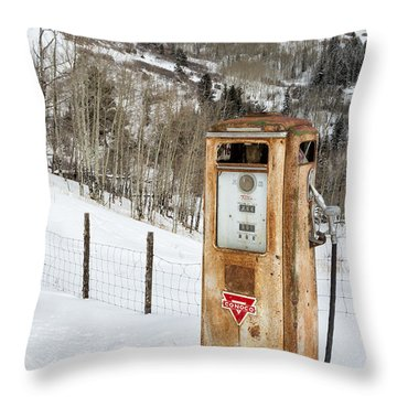 Conoco In The Snow Throw Pillow