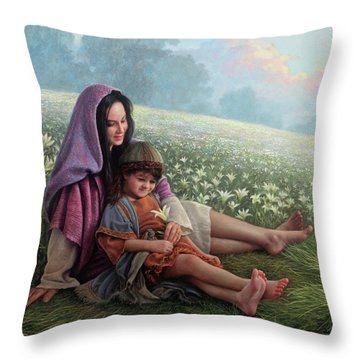 Throw Pillow featuring the painting Consider The Lilies by Greg Olsen