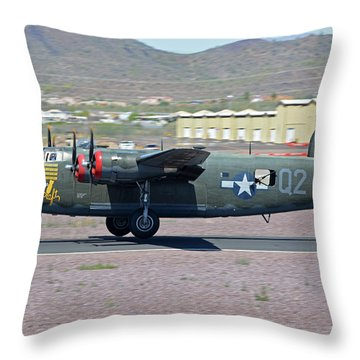 Throw Pillow featuring the photograph Consolidated B-24j Liberator N224j Witchcraft Deer Valley Arizona April 13 2016 by Brian Lockett