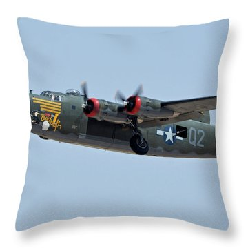 Throw Pillow featuring the photograph Consolidated B-24j Liberator N224j Witchcraft Phoenix-mesa Gateway Airport Arizona April 15 2016 by Brian Lockett