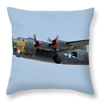 Consolidated B-24j Liberator N224j Witchcraft Phoenix-mesa Gateway Airport Arizona April 15 2016 Throw Pillow