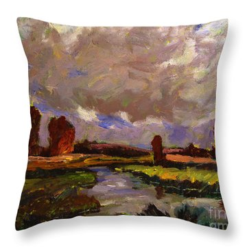 Throw Pillow featuring the painting Constables Reign by Charlie Spear