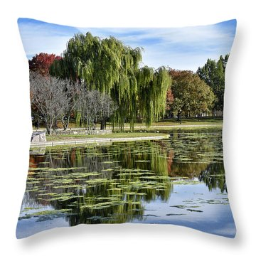 Constitution Gardens On The National Mall Throw Pillow by Brendan Reals