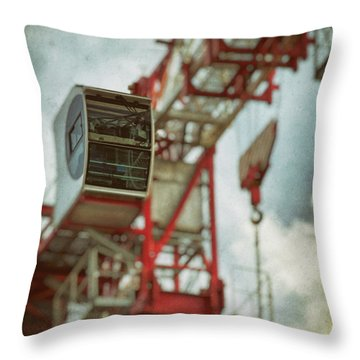 Construction Crane Throw Pillow by Wim Lanclus