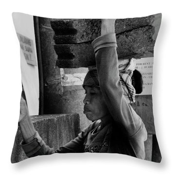 Throw Pillow featuring the photograph Construction Labourer - Bw by Werner Padarin