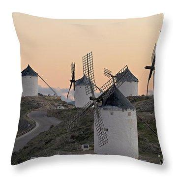 Throw Pillow featuring the photograph Consuegra Windmills by Heiko Koehrer-Wagner