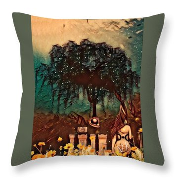 Consulting The Mother Throw Pillow by Vennie Kocsis