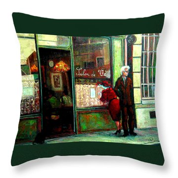 Throw Pillow featuring the painting Contemplando El Menu-looking Up The Menu by Walter Casaravilla
